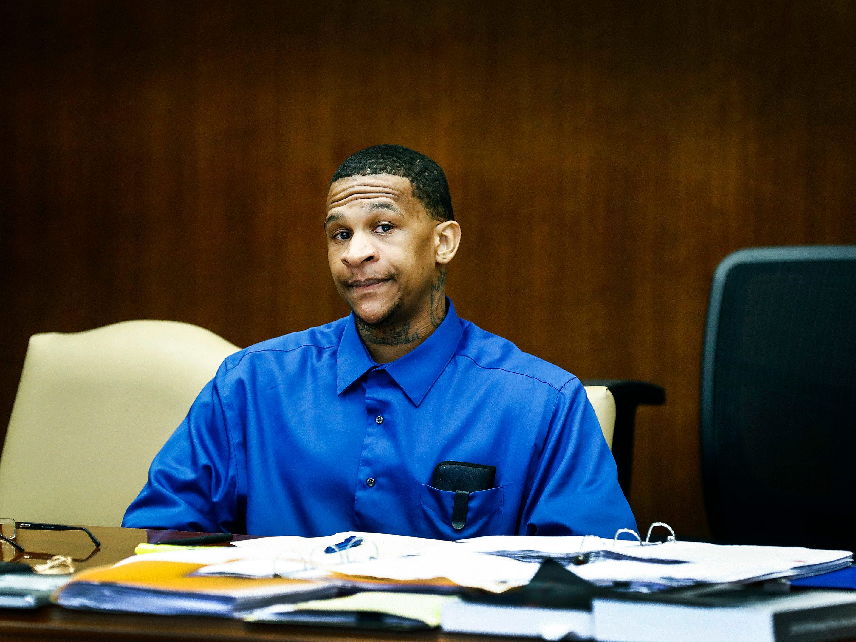 Quinton Tellis attends his retrial in Batesville, Miss., on Wednesday, Sept. 26, 2018. Tellis is charged with burning 19-year-old Jessica Chambers to death in December 2014. Tellis has pleaded not guilty to the murder. (Mark Weber /The Commercial Appeal via AP, Pool)