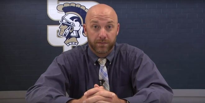Jared Hensley addresses Soddy-Daisy High School in a video on Wednesday, Sept. 26, 2018.