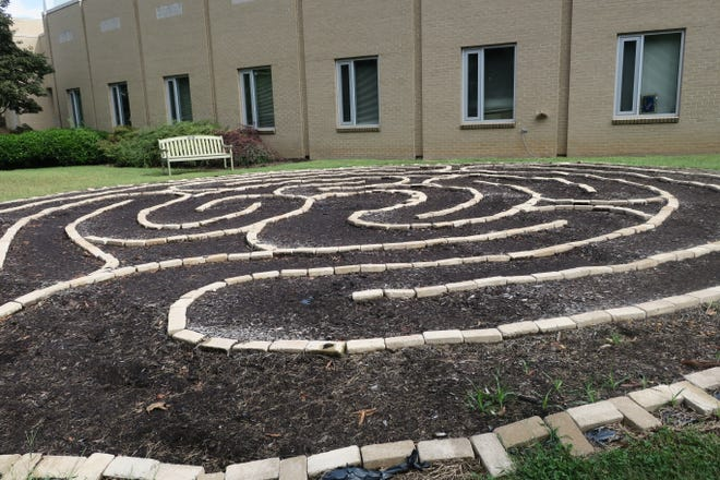 Children designed and built this seven-circuit labyrinth at the Tennessee Valley Unitarian Universalist Church.