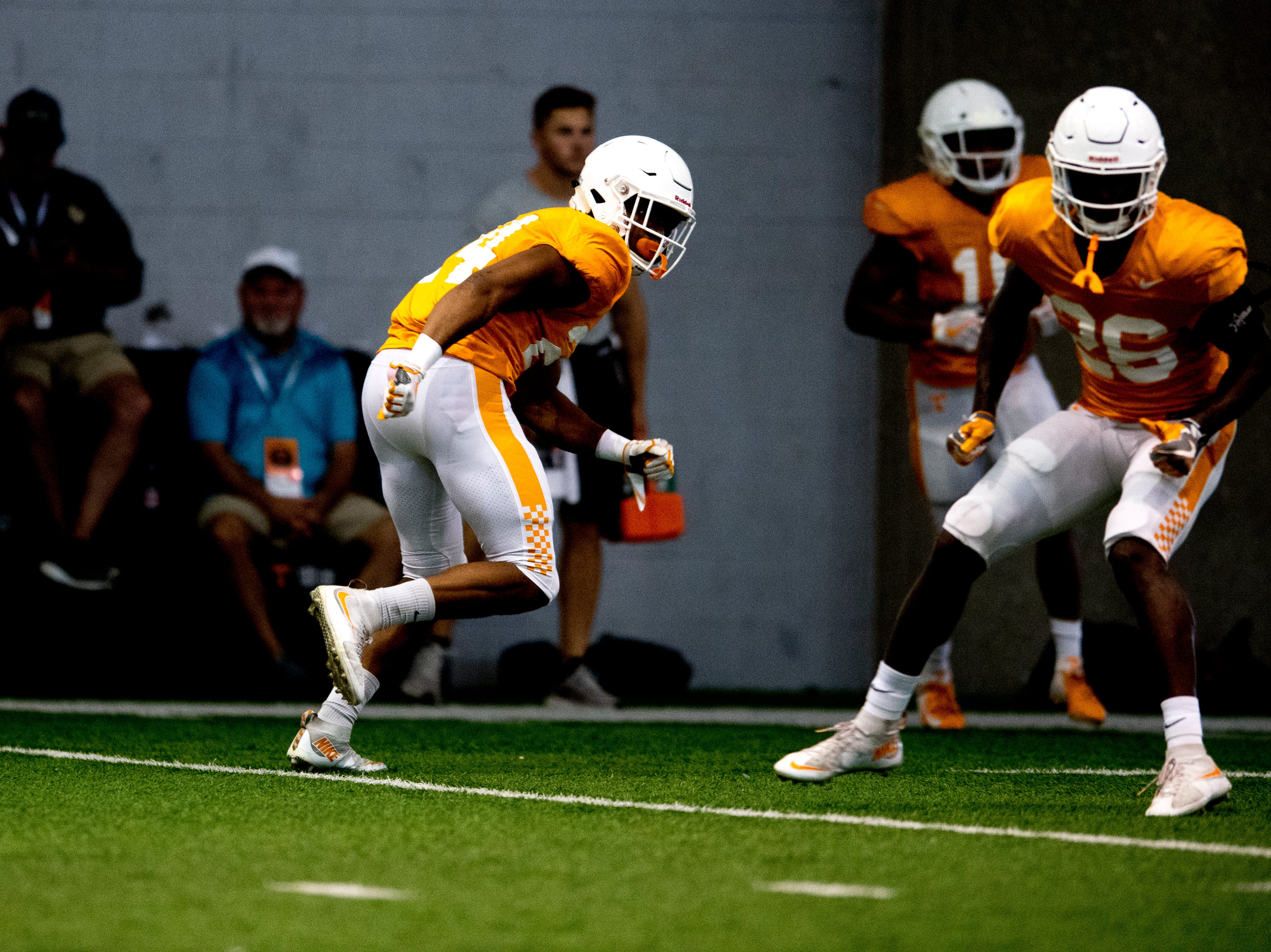 Tennessee defensive back Todd Kelly Jr. (24) drills with Tennessee defensive back Theo Jackson (26) during Tennessee fall football practice at Anderson Training Facility in Knoxville, Tennessee on Wednesday, September 26, 2018.