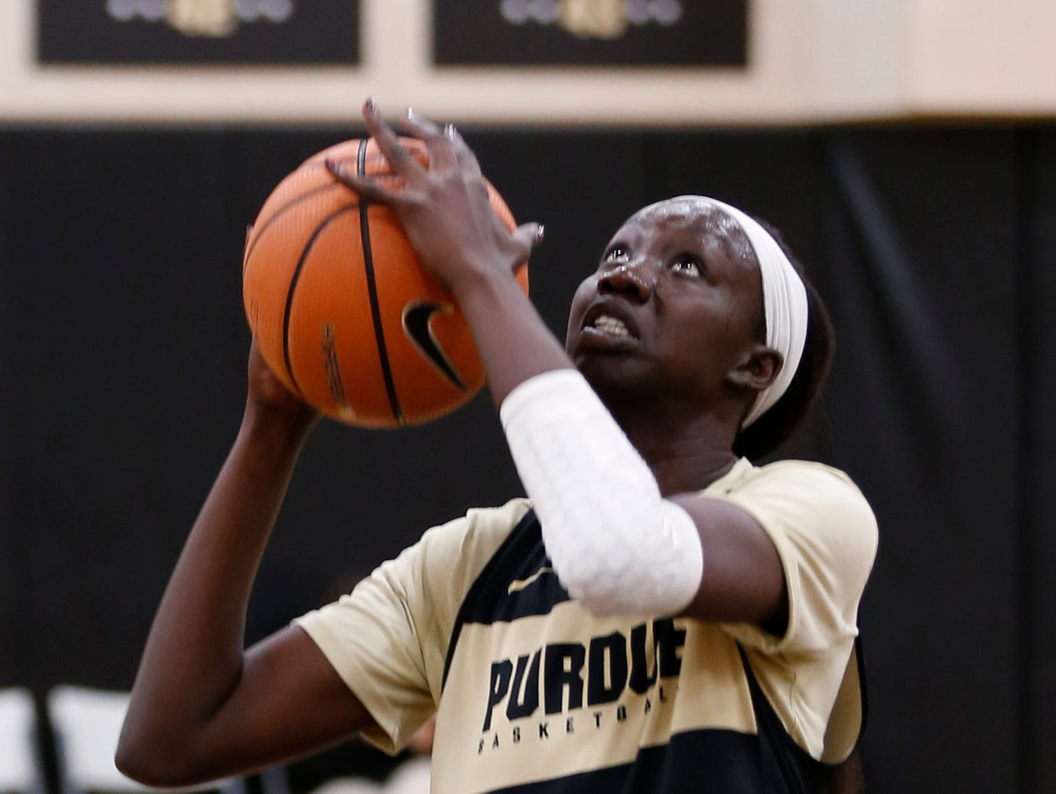 Nyagoa Gony with a shot during Purdue women's basketball practice Wednesday, September 26, 2018, at Cardinal Court in Mackey Arena.