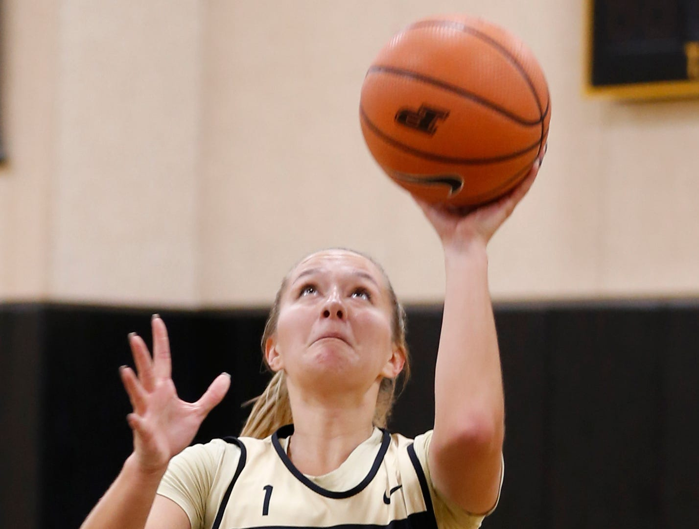 Karissa McLaughlin with a layup during practice for Purdue women's basketball Wednesday, September 26, 2018, at Cardinal Court in Mackey Arena.