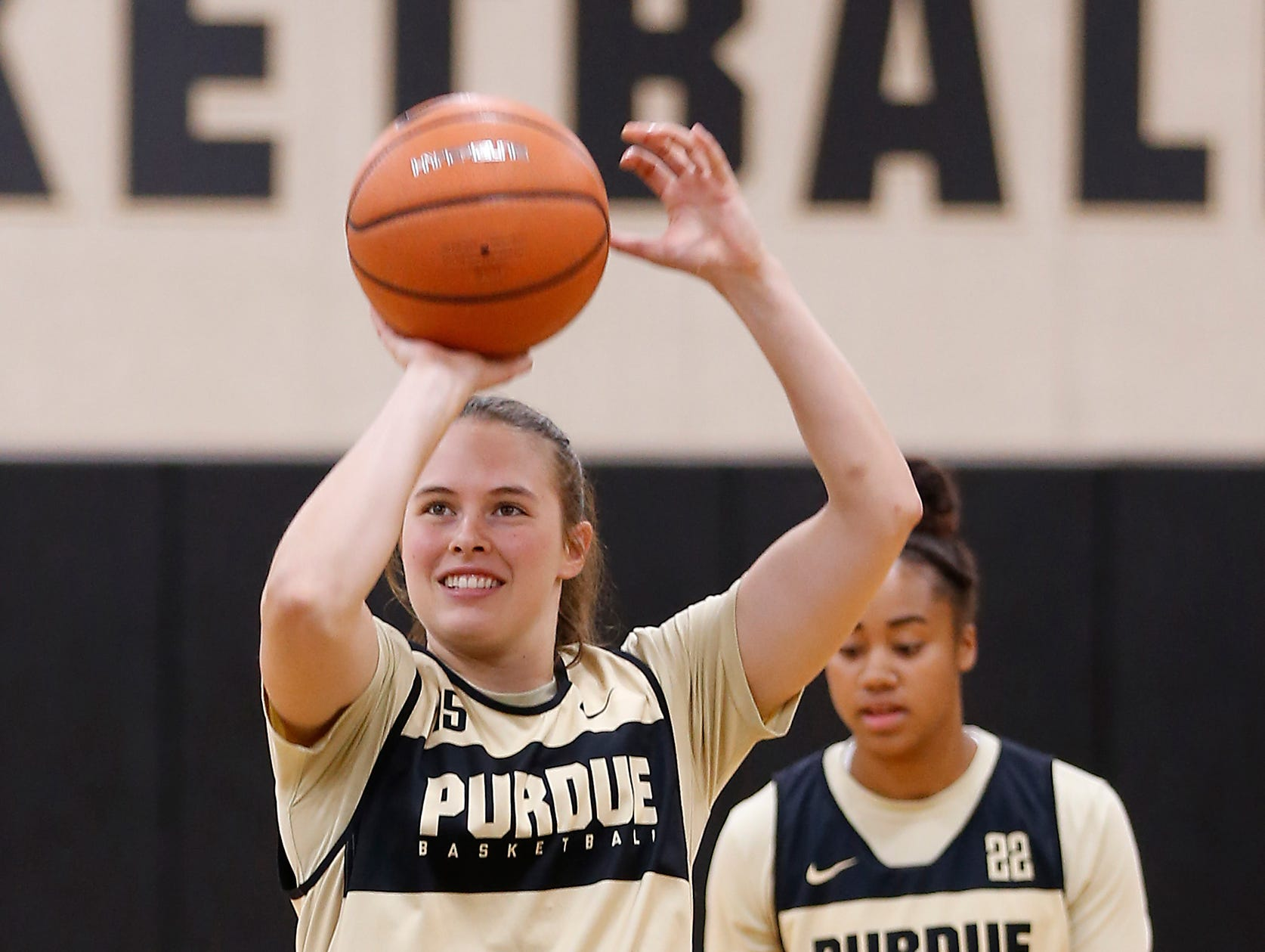 Léony Bourdreau takes a shot as she warms up before the start of the practice for Purdue women's basketball Wednesday, September 26, 2018, at Cardinal Court in Mackey Arena.