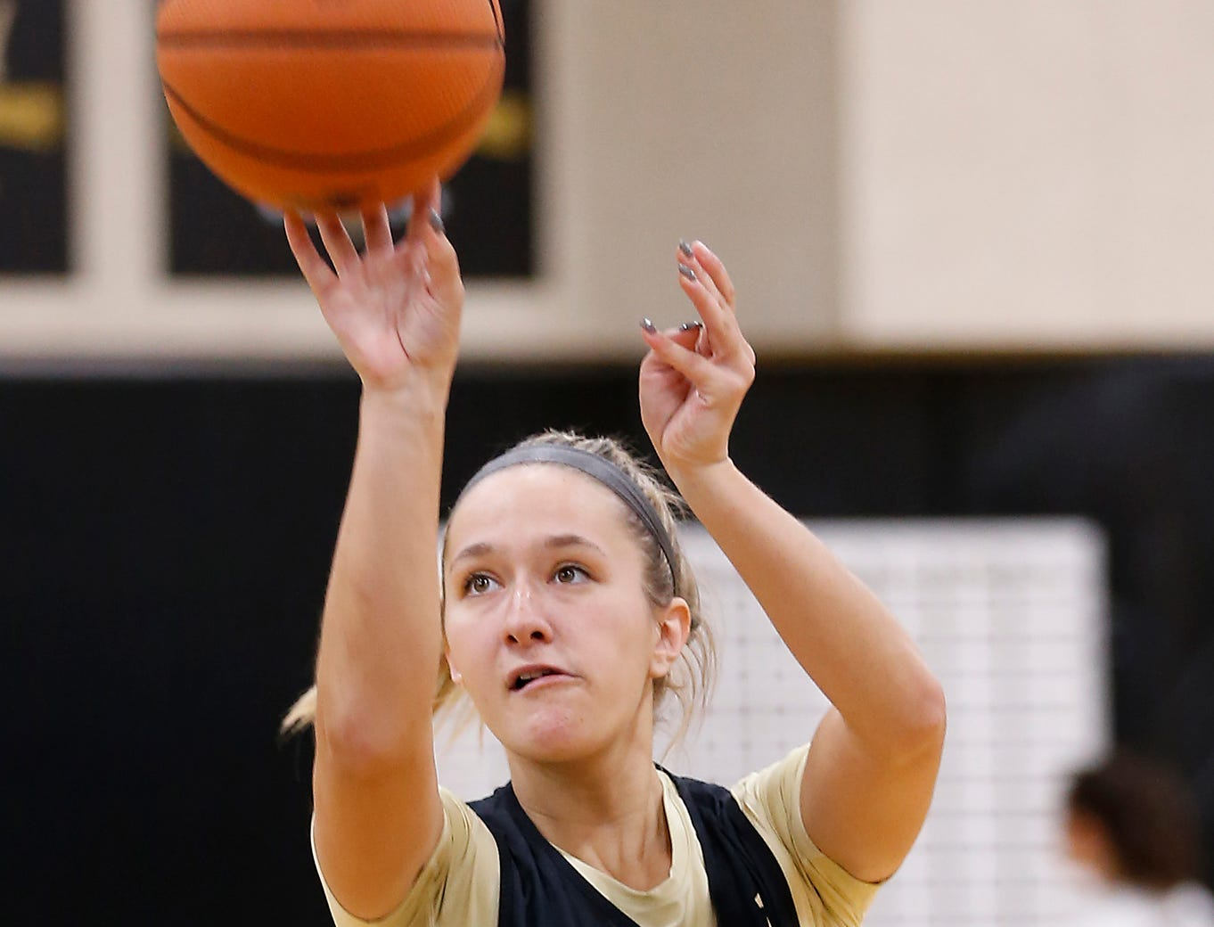 Karissa McLaughlin shoots baskets before the start of the practice for Purdue women's basketball Wednesday, September 26, 2018, at Cardinal Court in Mackey Arena.