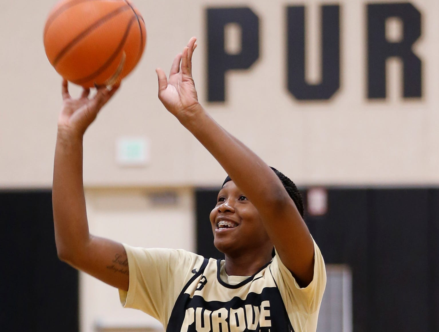 Lyndsey Whilby shoots baskets before the start of the practice for Purdue women's basketball Wednesday, September 26, 2018, at Cardinal Court in Mackey Arena.