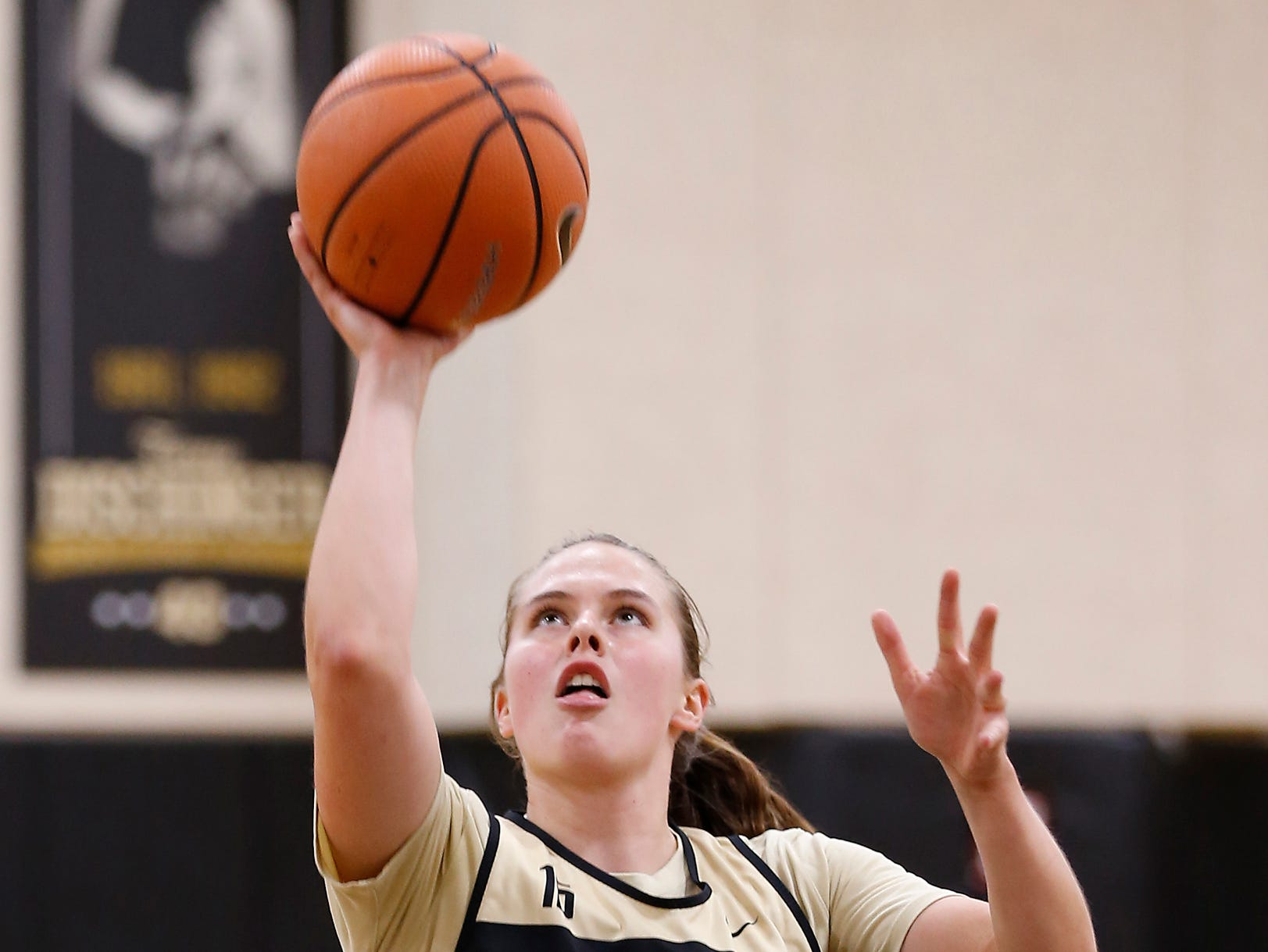 Léony Bourdreau with a layup during practice for Purdue women's basketball Wednesday, September 26, 2018, at Cardinal Court in Mackey Arena.