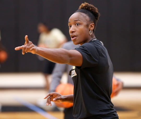 Assistant head coach Nadine Morgan with instructions for the players before they begin a drill during Purdue women's basketball practice Wednesday, September 26, 2018, at Cardinal Court in Mackey Arena.