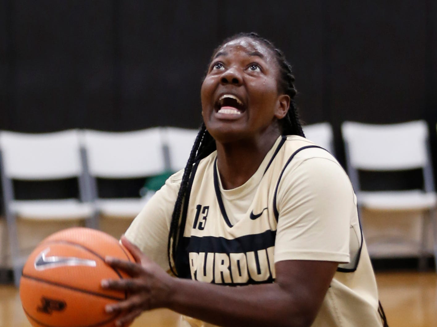 Ajah Stallings with a layup during Purdue women's basketball Wednesday, September 26, 2018, at Cardinal Court in Mackey Arena.