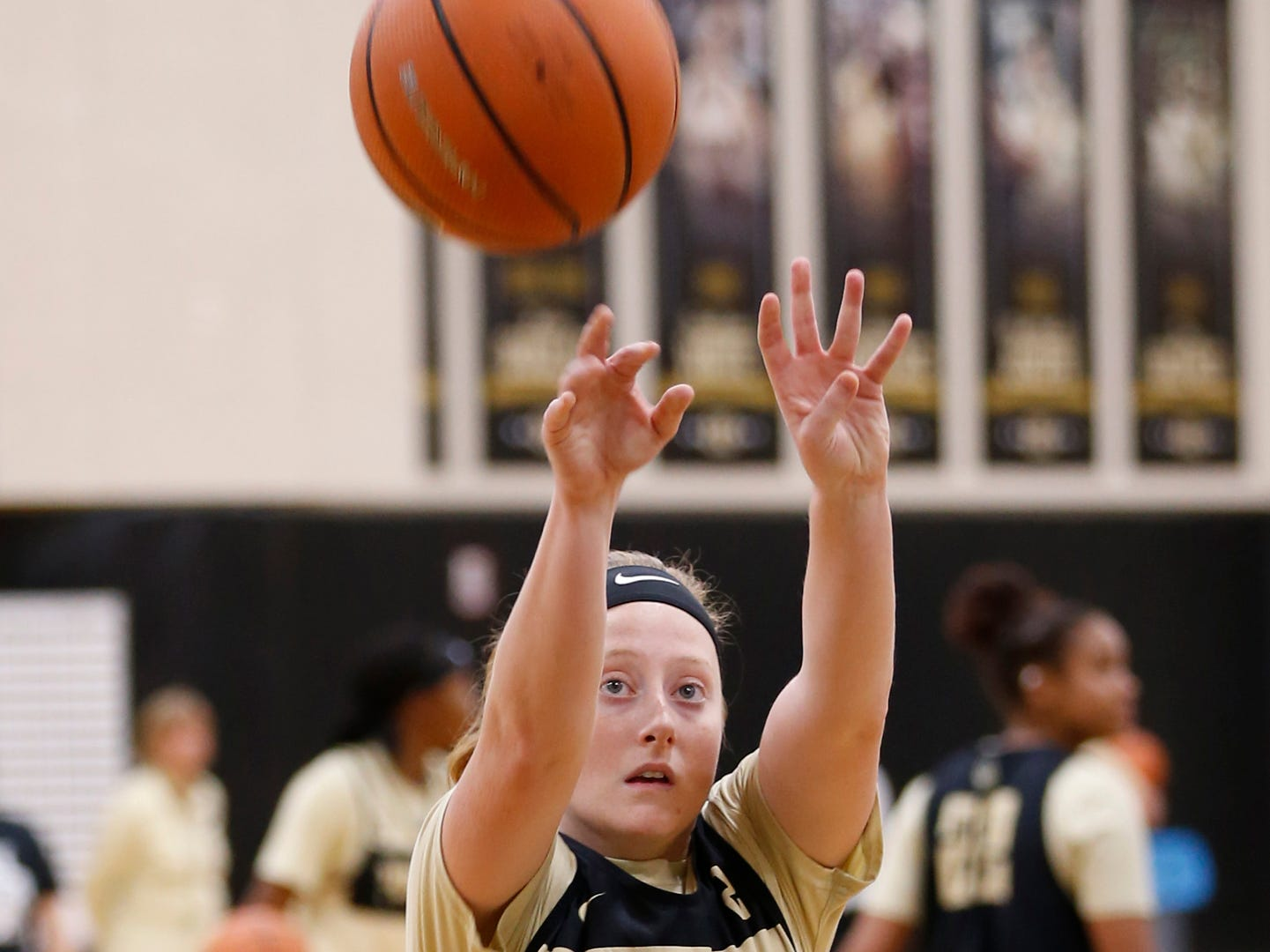Abby Abel with a shot during Purdue women's basketball practice Wednesday, September 26, 2018, at Cardinal Court in Mackey Arena.