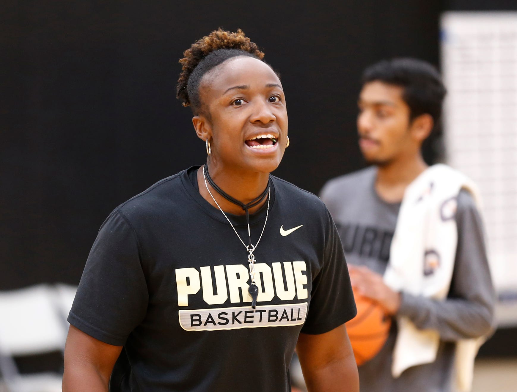 Assistant head coach Nadine Morgan shouts as players run a drill during Purdue women's basketball practice Wednesday, September 26, 2018, at Cardinal Court in Mackey Arena.