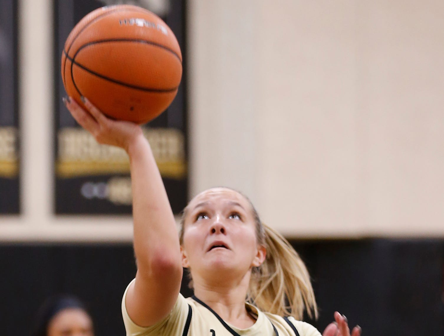 Karissa McLaughlin with a layup during practice for Purdue women's basketball Wednesdy, September 26, 2018, at Cardinal Court in Mackey Arena.