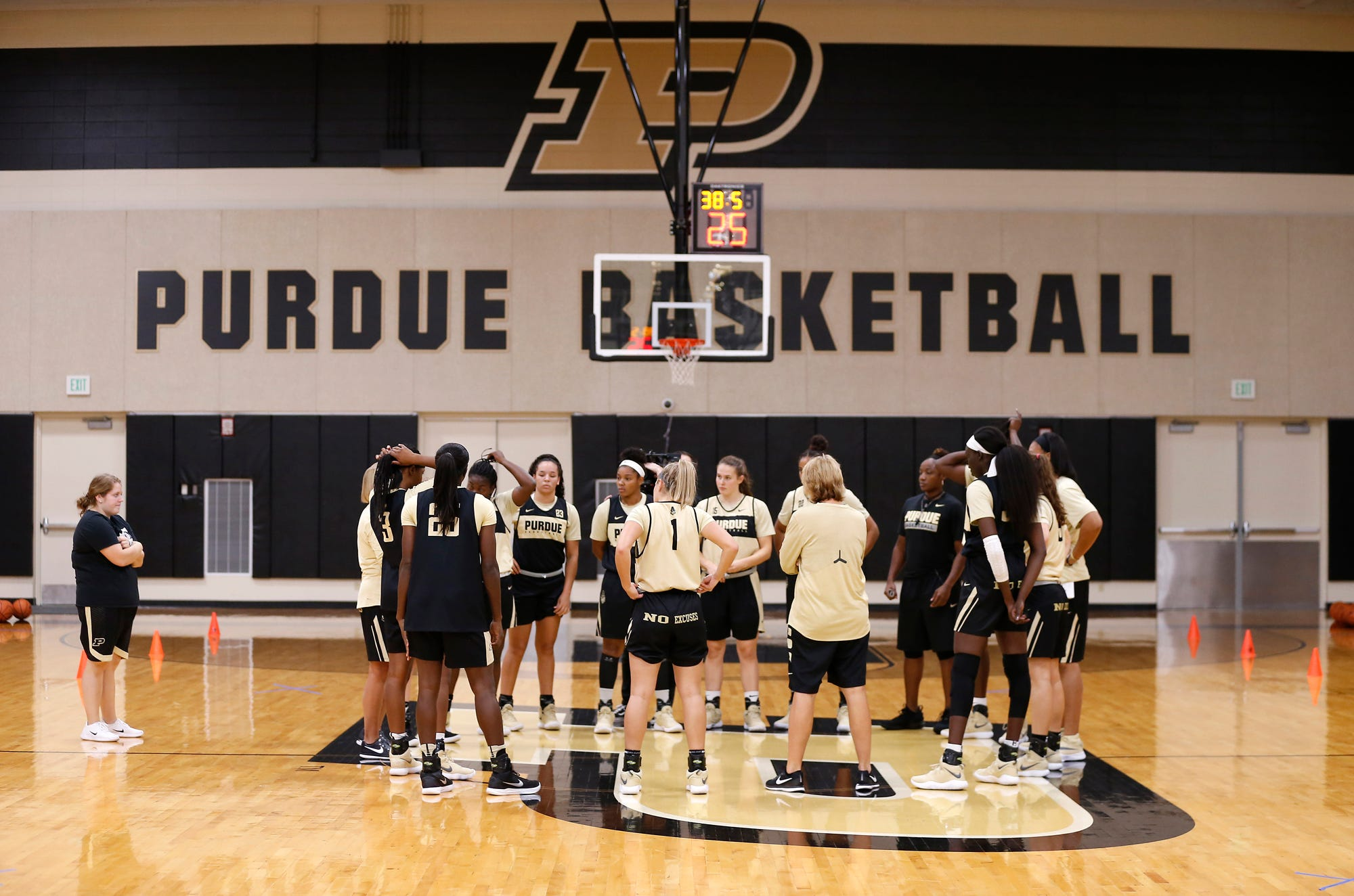 Players assemble with head coach Sharon Versyp for the first practice of the season for Purdue women's basketball Wednesday, September 26, 2018, at Cardinal Court in Mackey Arena.
