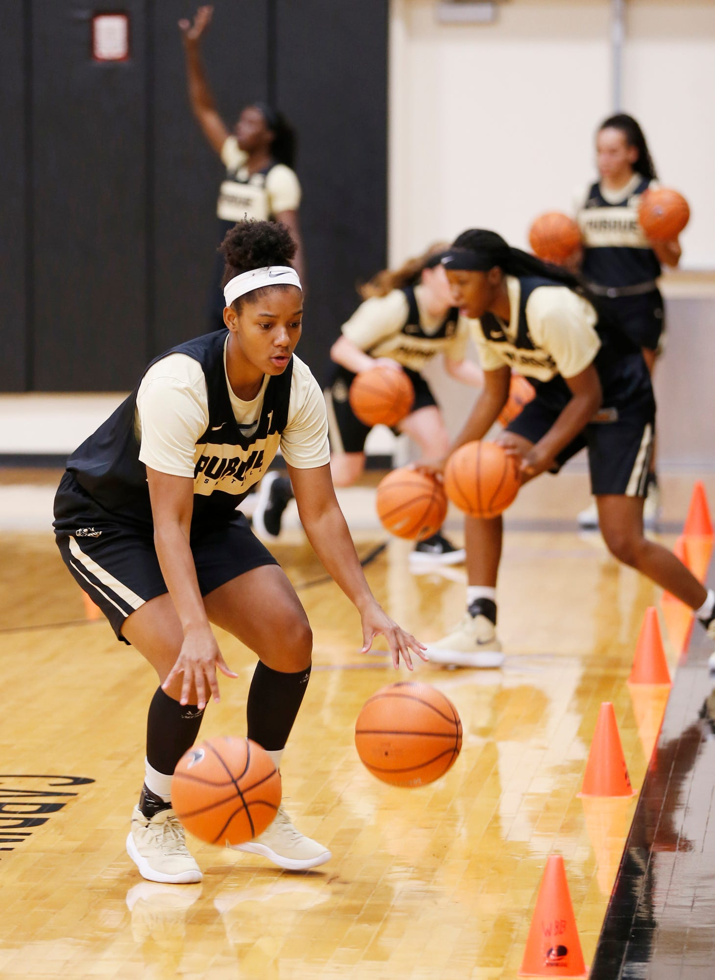 Dominique Oden in a dribbling drill during Purdue women's basketball practice Wednesday, September 26, 2018, at Cardinal Court in Mackey Arena.
