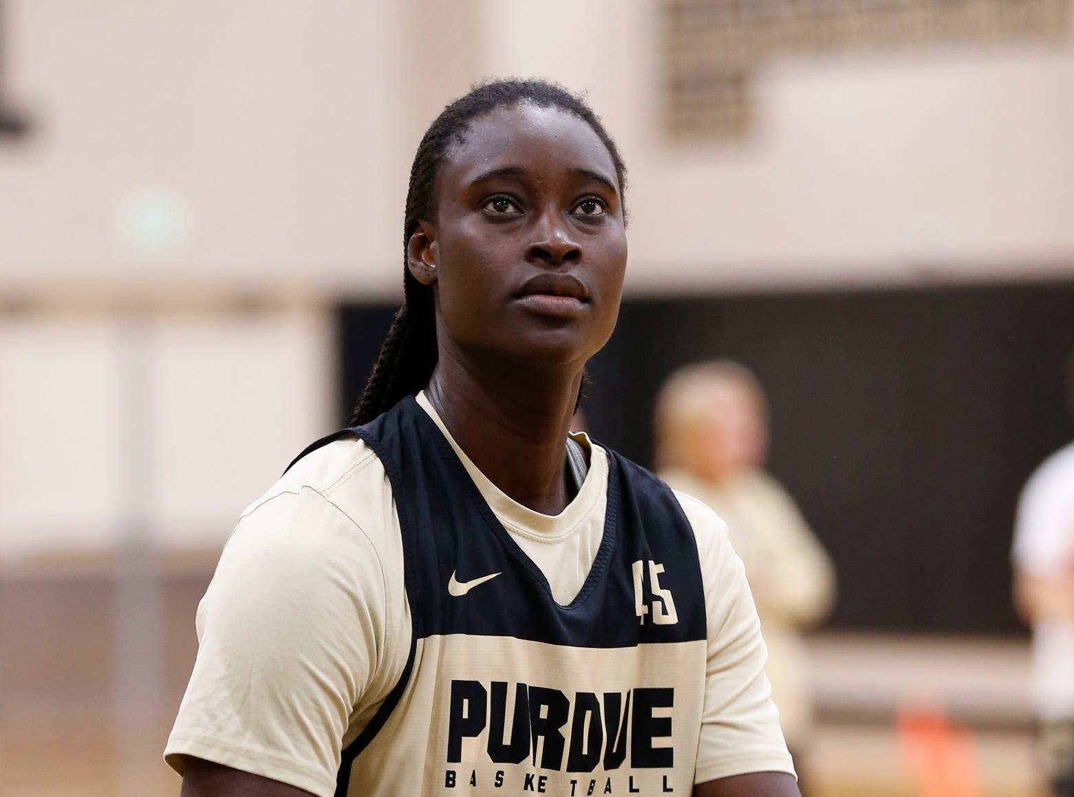 Fatou Diagne with a shot during Purdue women's basketball practice Wednesday, September 26, 2018, at Cardinal Court in Mackey Arena.