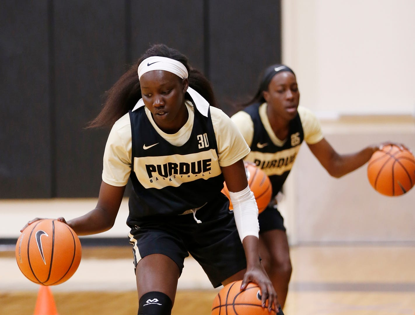 Nyagoa Gony during a dribbling drill at Purdue women's basketball practice Wednesday, September 26, 2018, at Cardinal Court in Mackey Arena.