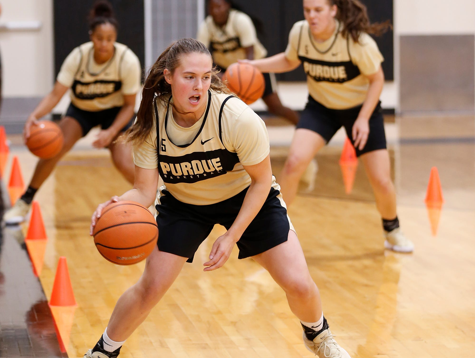Léony Bourdreau during practice for Purdue women's basketball Wednesday, September 26, 2018, at Cardinal Court in Mackey Arena.