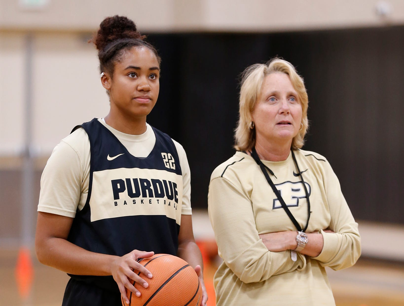 Jenelle Grant and assistant coach Beth Couture during practice for Purdue women's basketball Wednesday, September 26, 2018, at Cardinal Court in Mackey Arena.