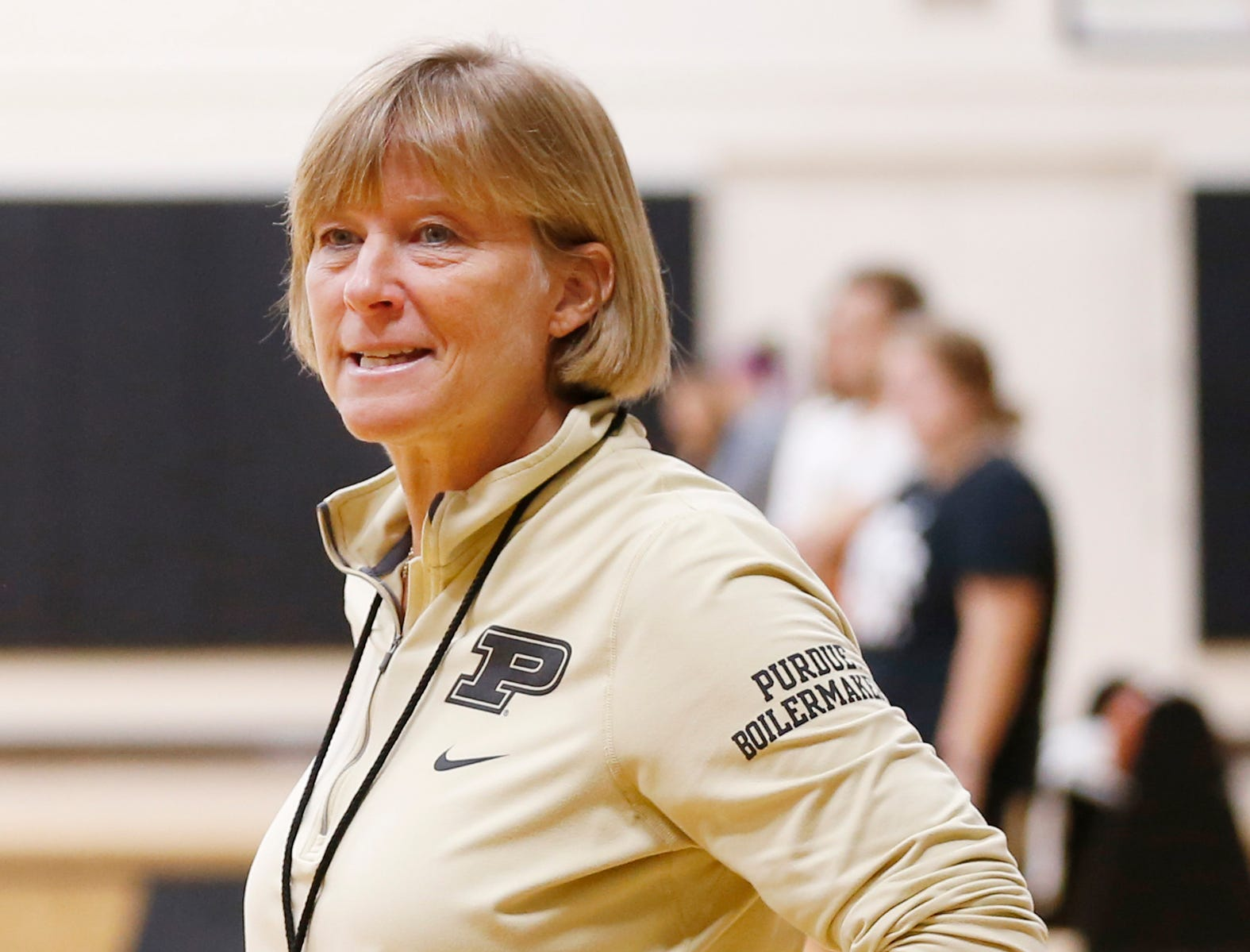 Head coach Sharon Versyp watches players run drills during Purdue women's basketball Wednesday, September 26, 2018, at Cardinal Court in Mackey Arena.