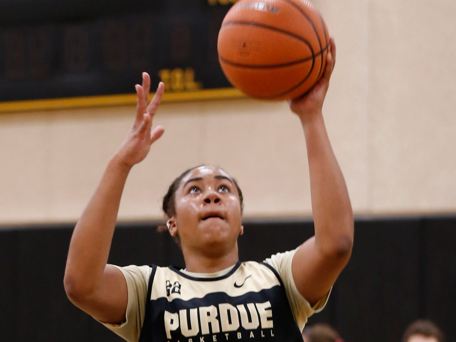 Jenelle Grant with a layup during Purdue women's basketball practice Wednesday, September 26, 2018, at Cardinal Court in Mackey Arena.