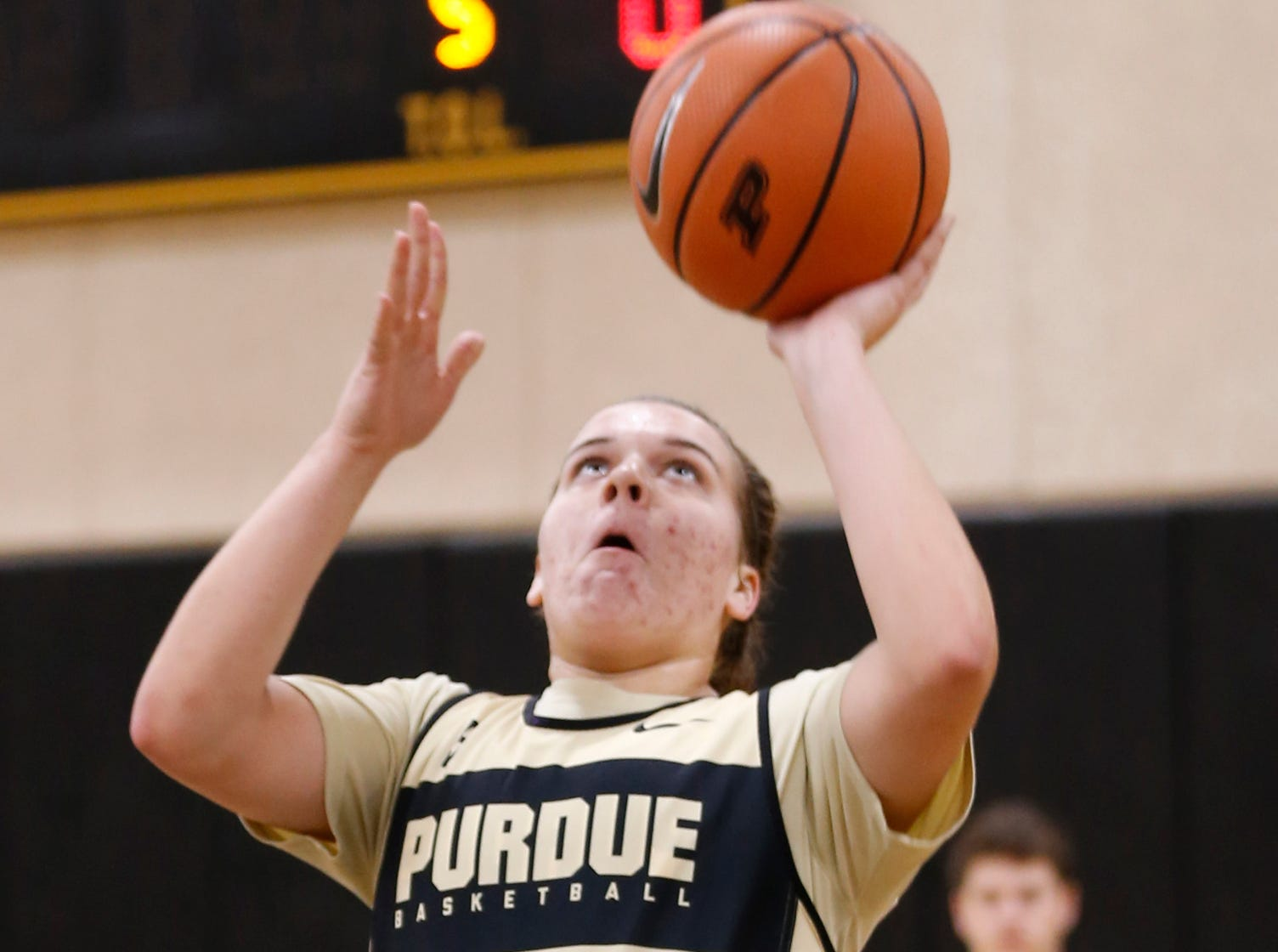 Cassidy Hardin with a layup during Purdue women's basketball practice Wednesday, September 26, 2018, at Cardinal Court in Mackey Arena.