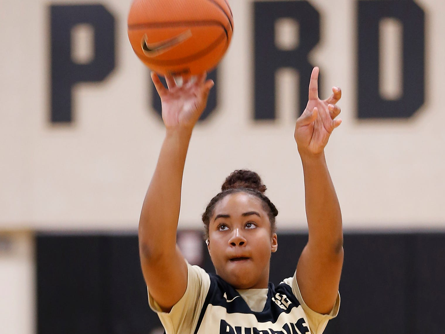 Jenelle Grant with a shot before the start of the practice for Purdue women's basketball Wednesday, September 26, 2018, at Cardinal Court in Mackey Arena.