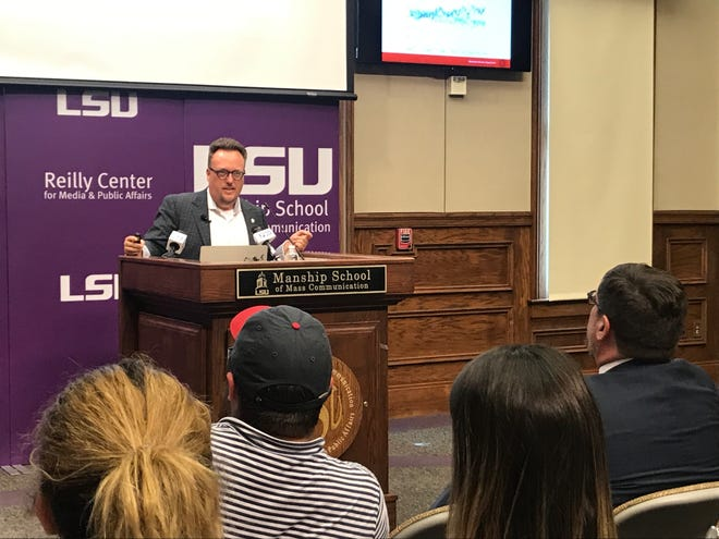 Dr. Michael Wagner, a political scientist from the University of Wisconsin, speaks about the partisan divide at LSU Tuesday.
