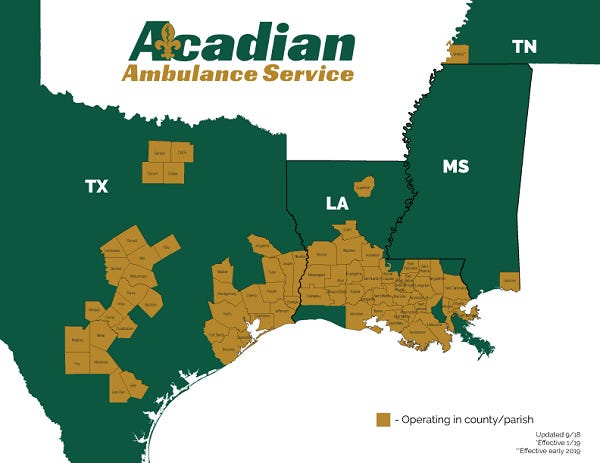 Acadian Ambulance service area map