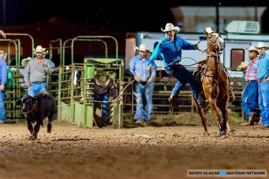 Luke Dubois competes on Sept. 21  at the September Showdown CRA Rodeo at Cowboys Arena in Scott