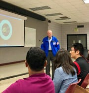 Former NASA astronaut and Apollo 13 lunar module pilot Fred Haise Jr., 84, speaks to students and faculty of the University of Lafayette's Department of Mechanical Engineering on Wednesday, Sept. 26, 2018.