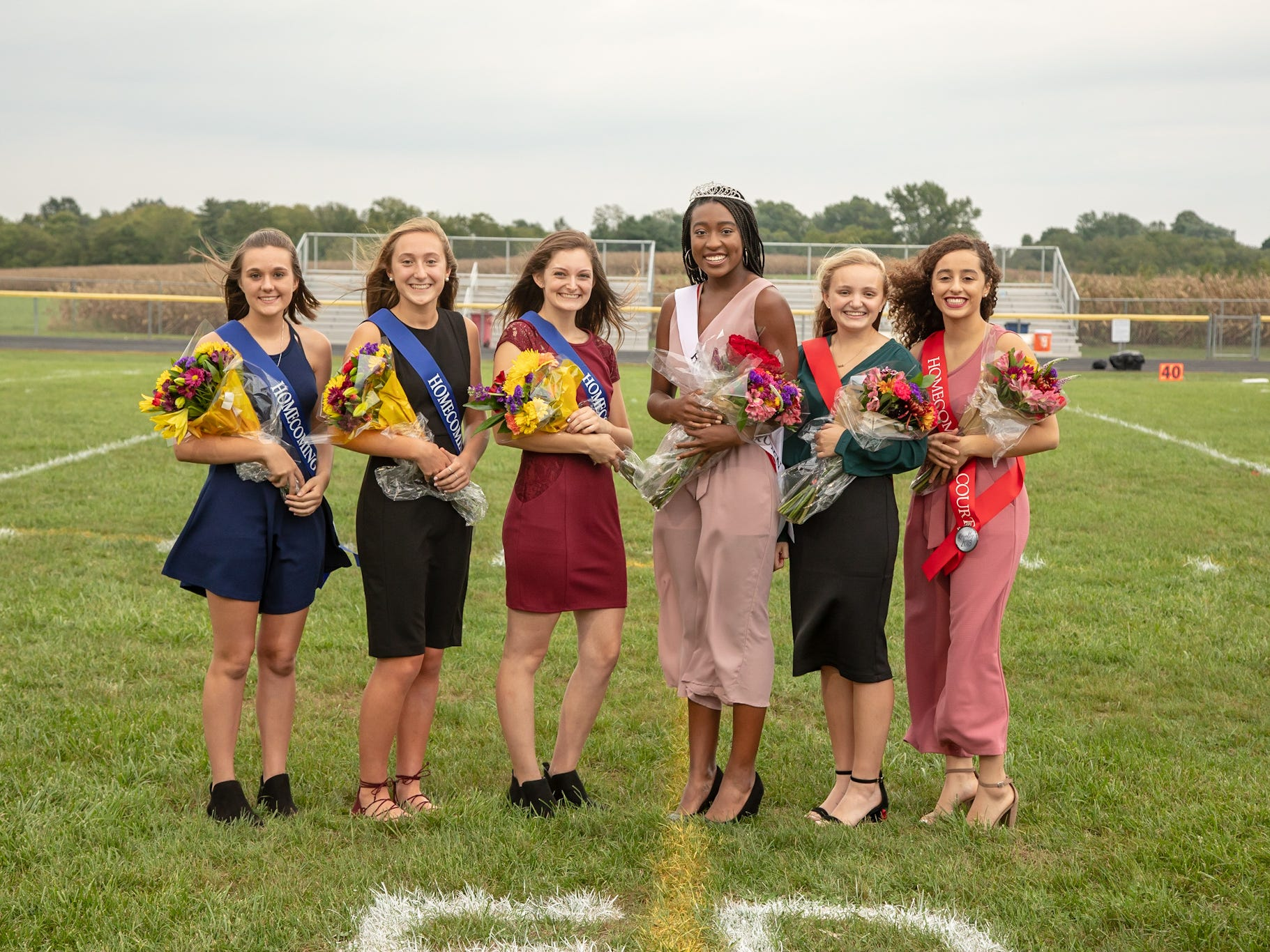 Fairfield Christian Academy crowned it's homecoming queen Friday night, Sept. 21, 2018, at Millersport High School in Millersport. Pictured from left to right are: sophomore attendant Margaret Roberts, freshman attendant Sophia Kumler, junior attendant Skylar Allen, FCA 2018 Homecoming Queen Mamme Adu, senior attendant Cassie Thompson and senior attendant Celeste Mershimer.