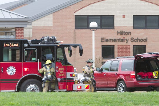 Brighton Area Fire Department and Green Oak Fire respond to a smoke investigation at Brighton Schools' Hilton Elementary Wednesday, Sept. 26, 2018. Students were temporarily evacuated.