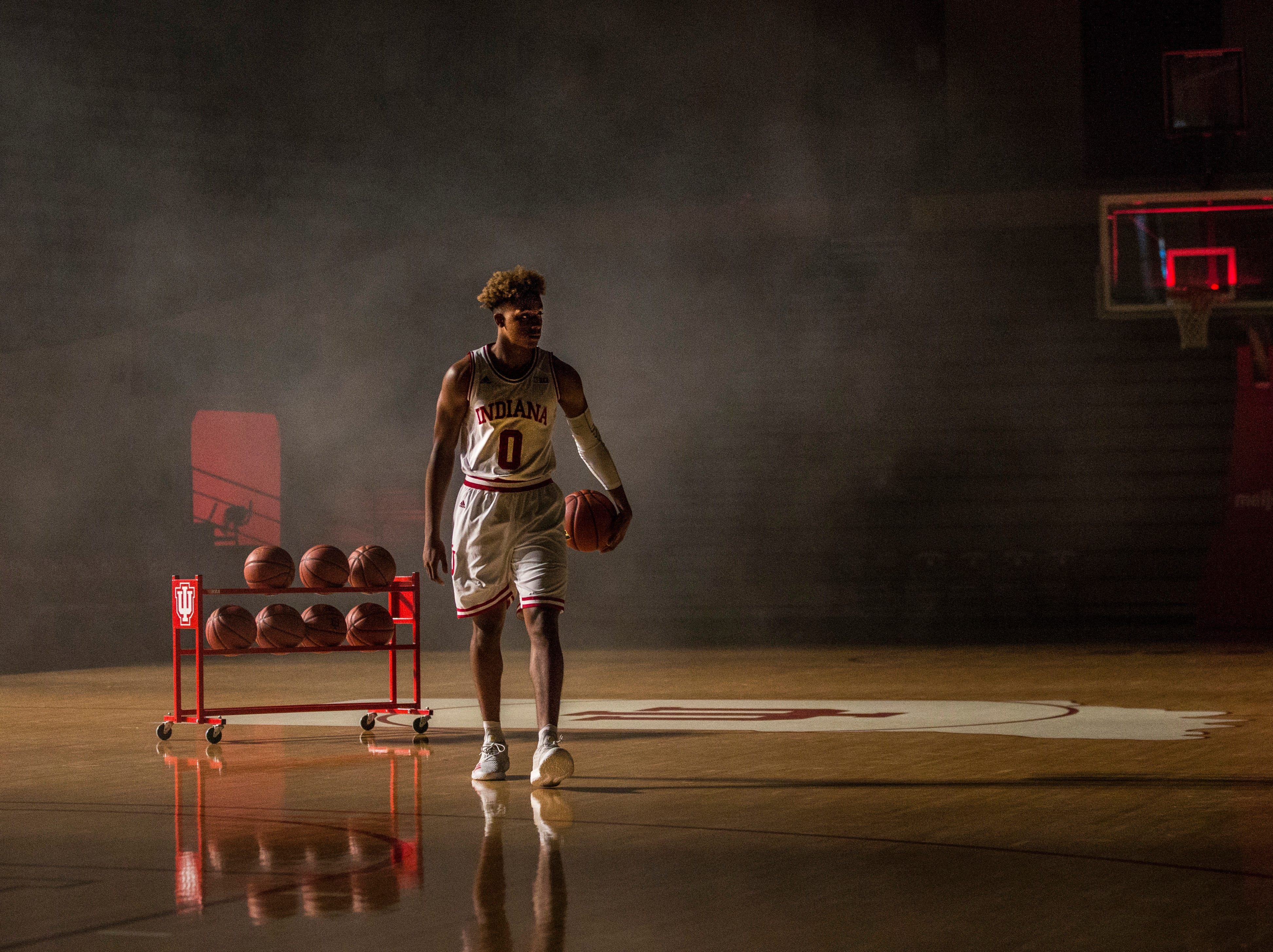 New Albany native Romeo Langford walks off the Indiana court during media day at Assembly Hall Wednesday afternoon. Coach Archie Miller says Langford's athleticism reminded him of Randy Moss and quickness like Usain Bolt. There's a lot of Hoosier hopes riding on the shoulders of the highly touted freshman. Sept. 26, 2018