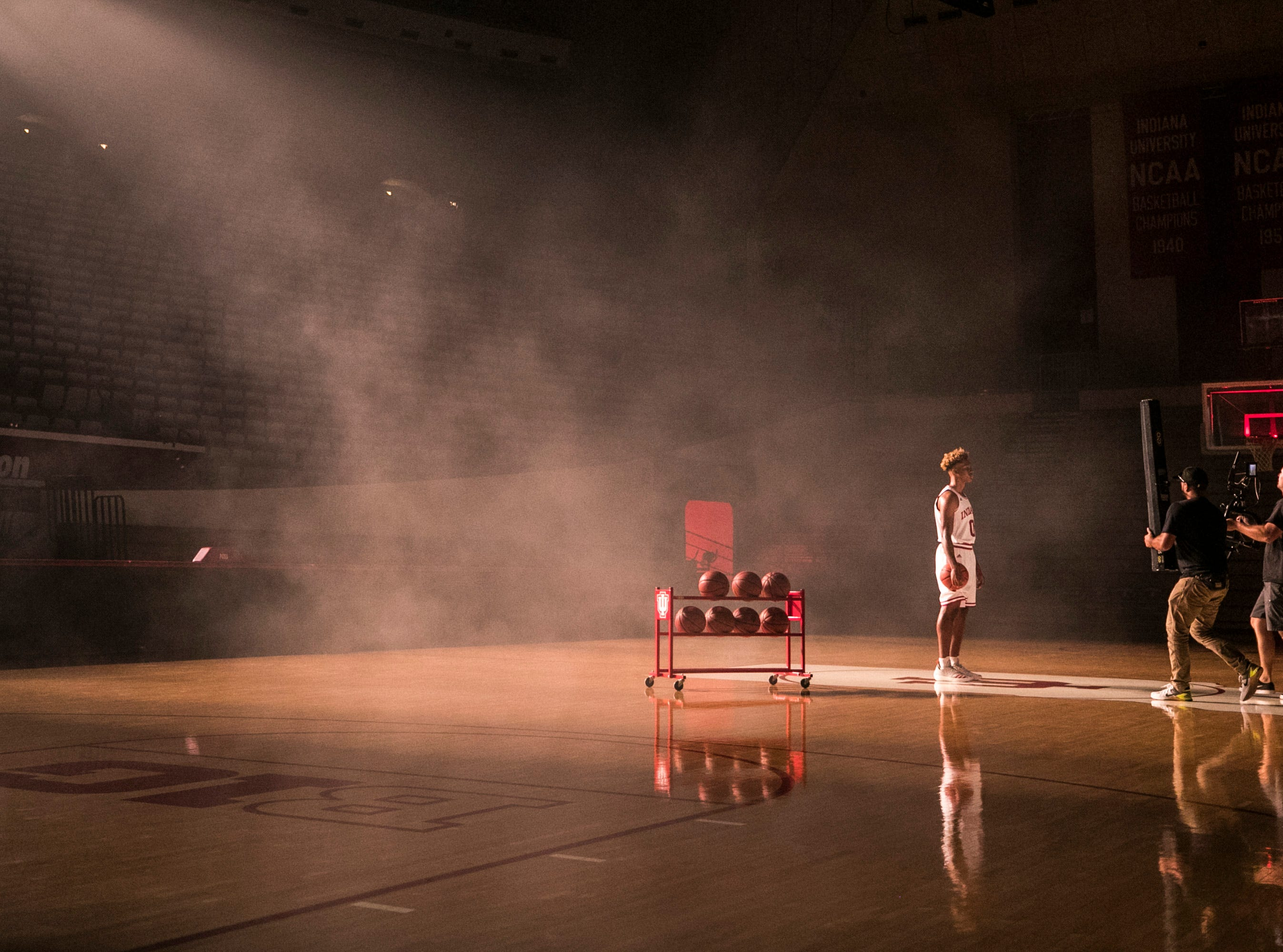 New Albany native Romeo Langford was filmed on the Indiana court during media day at Assembly Hall Wednesday afternoon. Coach Archie Miller says Langford's athleticism reminded him of Randy Moss and quickness like Usain Bolt. There's a lot of Hoosier hopes riding on the shoulders of the highly touted freshman. Sept. 26, 2018