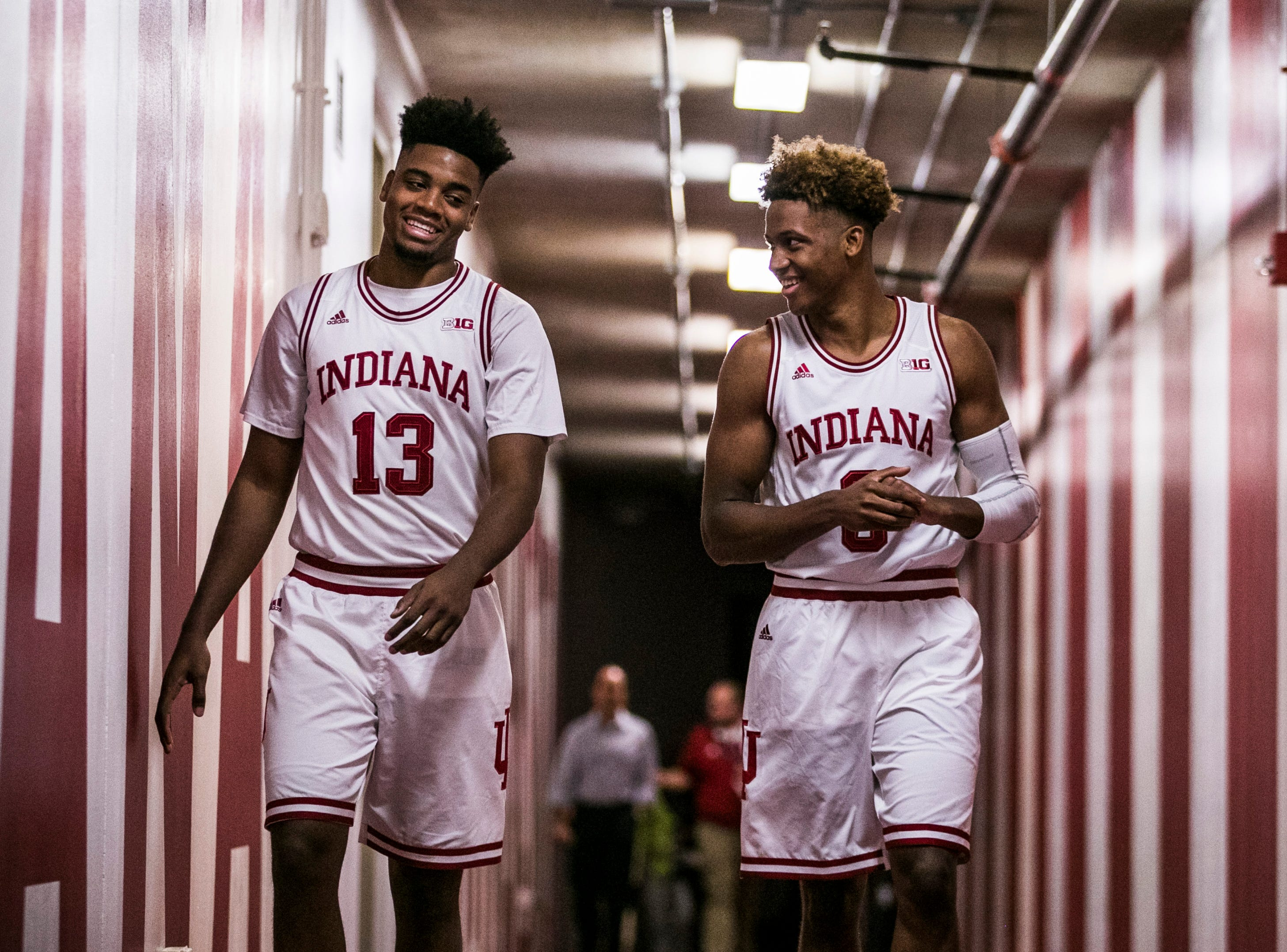 New Albany native Romeo Langford, right, laughs with senior Juwan Morgan as the two head down a tunnel at Cook Center for pictures Sept. 26, 2018. Langford, a Mr. Indiana basketball, has a lot of Hoosier fans hoping he can lead them to a national championship. Sept. 26, 2018