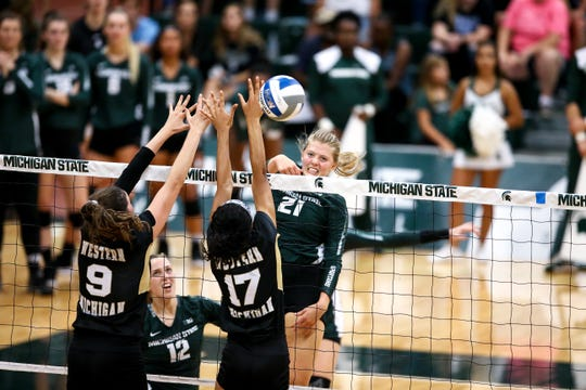 MSU freshman Becka Poljan, from Lansing Catholic, has become a mainstay in the middle up front for Spartans volleyball team.