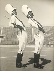 MSU Marching Band co-drum majors Henry Baltimore, left, and Robert James, are believed to be the band's first African American drum majors. Photo taken 1972.