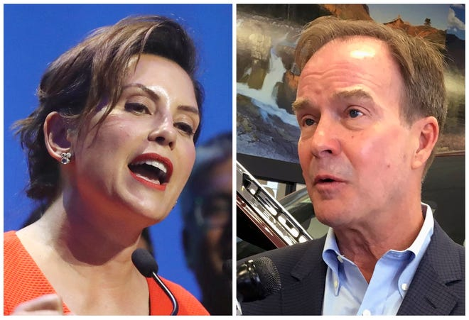 This combination of file photos shows Michigan gubernatorial candidates, Democrat Gretchen Whitmer, left, and Republican Bill Schuette.