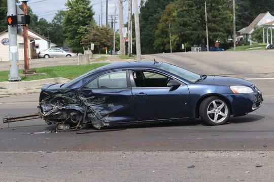 A three-car crash closed the intersection of Trimble Road and Springmill Street on Wednesday, Sept. 26, 2018.