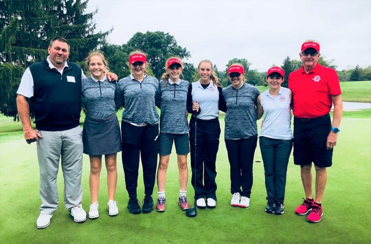 The Shelby Whippets, led by sophomore medalist Amanda Ruminski (with club), won their third straight Division II sectional title Tuesday at Valley View.