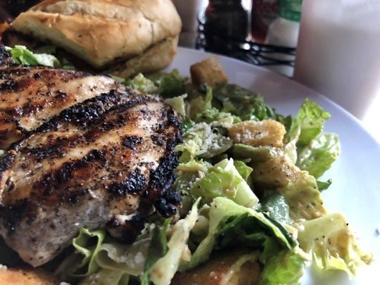 Cesar salad with grilled chicken from the Crazy Flamingo, Marco Island.