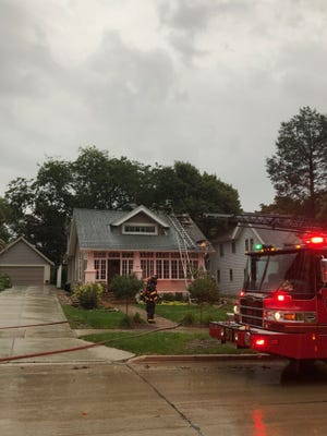Wauwatosa Fire Department respond to a fire on 72nd Street and Hillcrest Drive Sept. 25. Lightning caused a chimney to explode and started a fire in the attic.