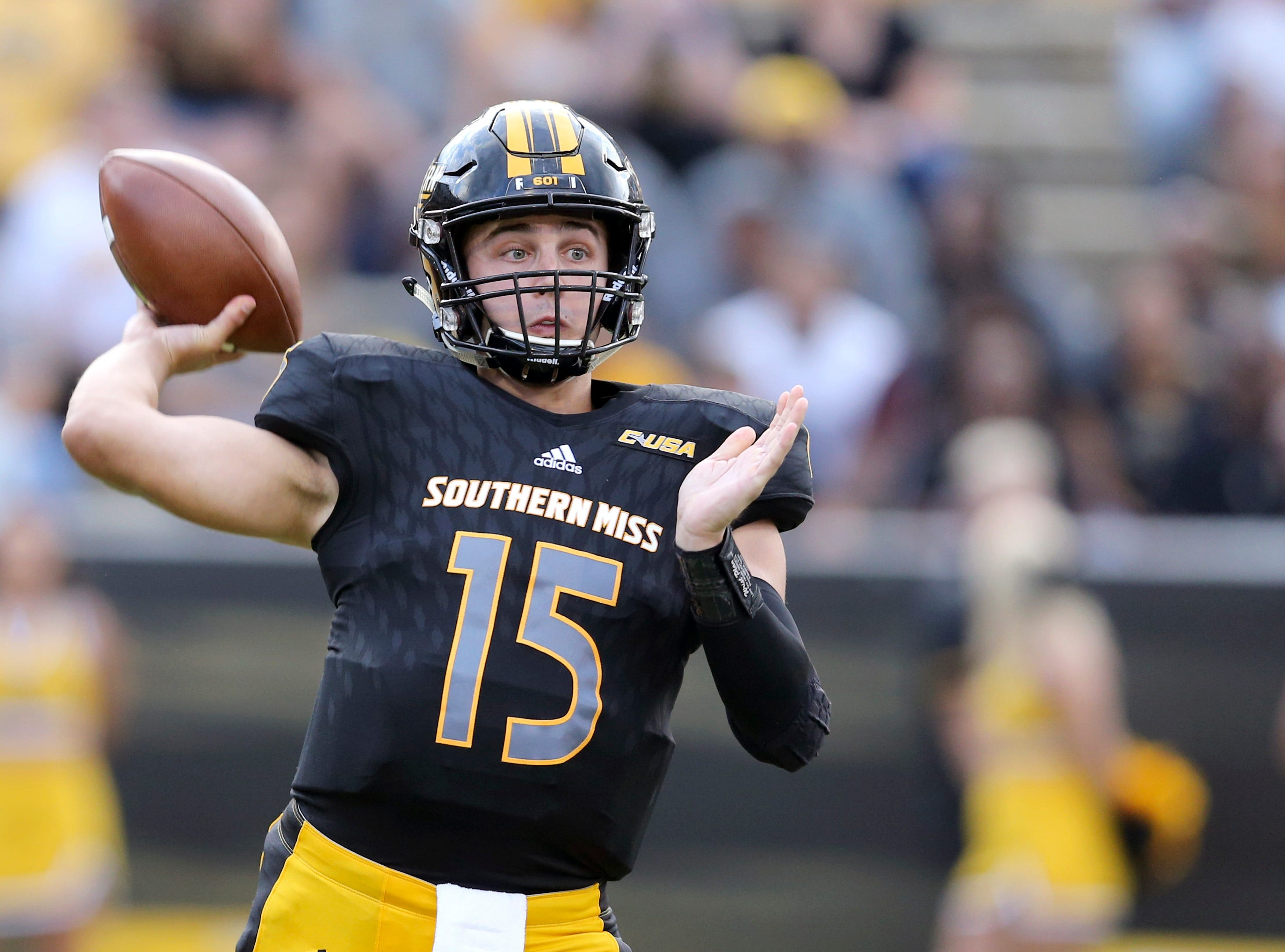 Southern Miss quarterback Jack Abraham (15) makes a throw against Rice on Sept. 22, 2018 in Hattiesburg, Miss.