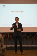 Andy Christiansen, motivational speaker, presents his idea on mentorship to 14th Flying Training Wing Airmen, Sept. 14, 2018, on Columbus Air Force Base, Mississippi. Christiansen has worked as an honorary professor at the Air University's Air Command and Staff College at Maxwell Air Force Base, Alabama, for numerous years and is a motivational speaker and innovator of leadership practices.