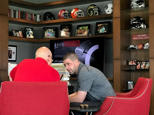 Louisiana coach Billy Napier talks in his office on Friday, Sept. 21 prior to the Ragin' Cajuns game with Coastal Carolina.