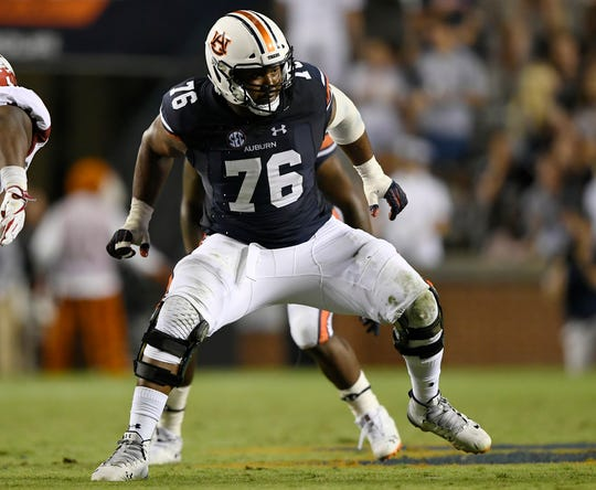 Auburn left tacke Prince Tega Wanogho during a game against Arkansas on Saturday, Sept. 22, 2018 in Auburn, Ala.