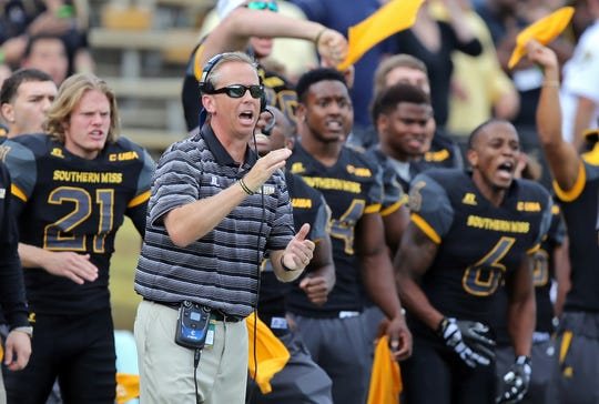 Southern Miss head coach Todd Monken on the sidelines during a game against Austin Peay on Sept. 12, 2015, in Hattiesburg, Miss.