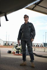 Andy Christiansen, motivational speaker, stares into the cockpit of a T-38 Talon Sept. 13, 2018, on Columbus Air Force Base, Mississippi. During his time on Columbus AFB, he flew with the 50th Flying Training Squadron, seeing exactly what military aviators go through.