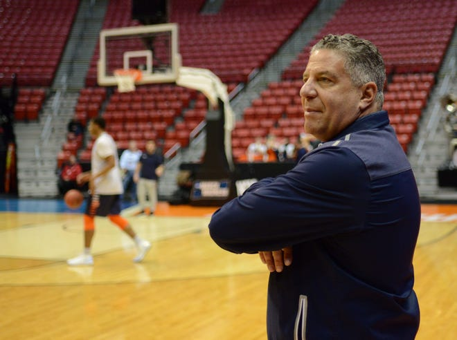 Auburn head coach Bruce Pearl during the practice day before the first round of the 2018 NCAA Tournament on March 15, 2018, at Viejas Arena in San Diego, Calif.
