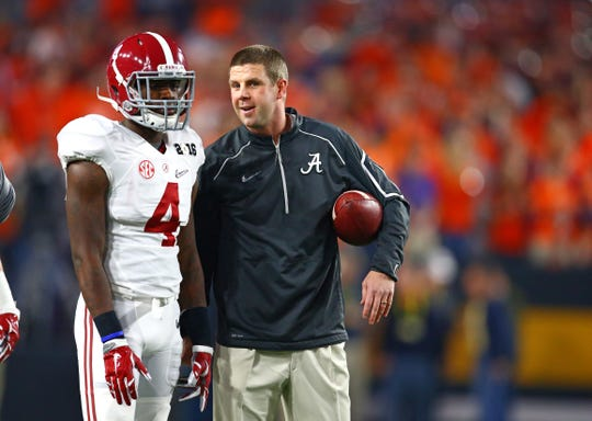 Jan 11, 2016; Glendale, AZ, USA; Alabama Crimson Tide wide receivers coach Billy Napier with wide receiver Daylon Charlot (4) against the Clemson Tigers in the 2016 CFP National Championship at University of Phoenix Stadium. Mandatory Credit: Mark J. Rebilas-USA TODAY Sports