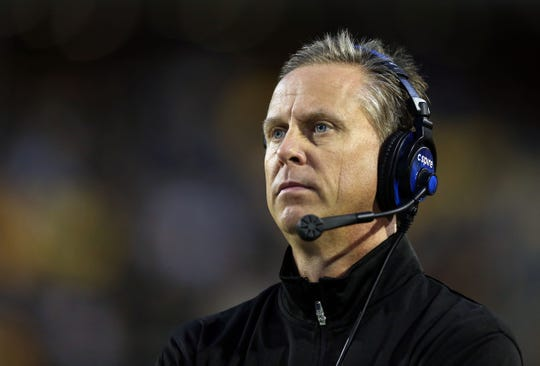 Nov 21, 2015; Hattiesburg, MS, USA; Southern Miss head coach Todd Monken looks on from the sidelines during a game against Old Dominion on Nov. 21, 2015, in Hattiesburg, Miss.